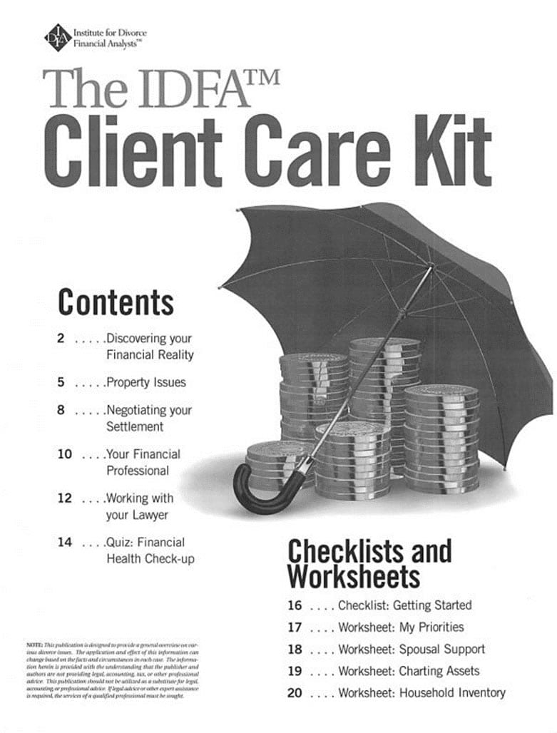 Worksheets Divorce Financial Worksheet client care kit from the institute for divorce financial analysts idfa kit